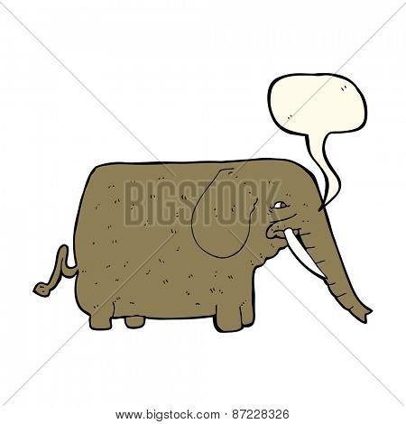 cartoon mammoth with speech bubble