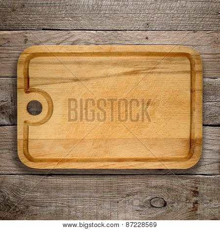Chopping Board On Old Wooden Background
