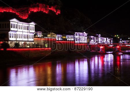 Night View Of Amasya City Center, Turkey