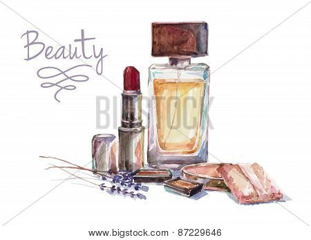 illustration with woman cosmetics.