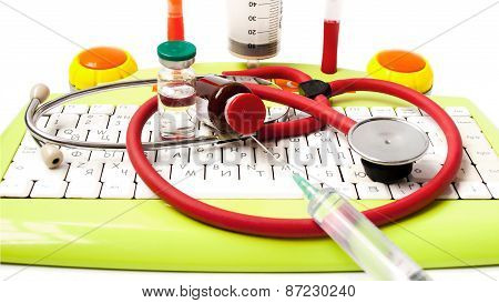Medicine, Phonendoscope, Bottle, The Keyboard, Ball Pens Syringe, Needle