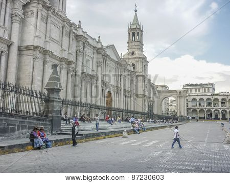 Cathedral Of Arequipa City In Peru