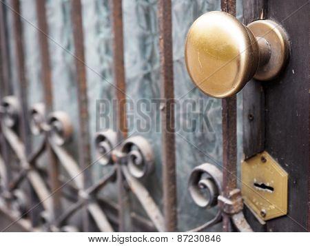 Ancient door gate with brass knob