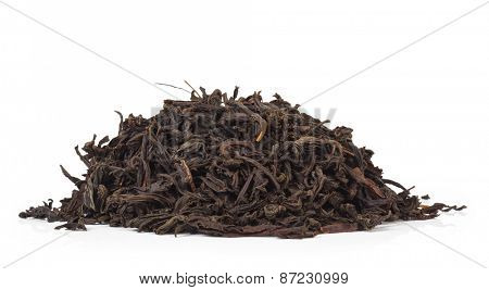 black tea isolated on white background