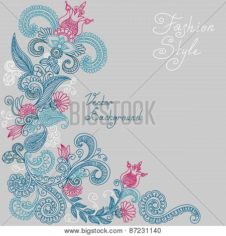 vector blue and red floral pattern