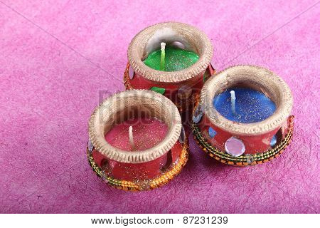 Decorated Three Candle Pot