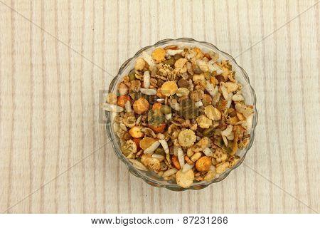 Namkeen Mixture In Glass Bowl