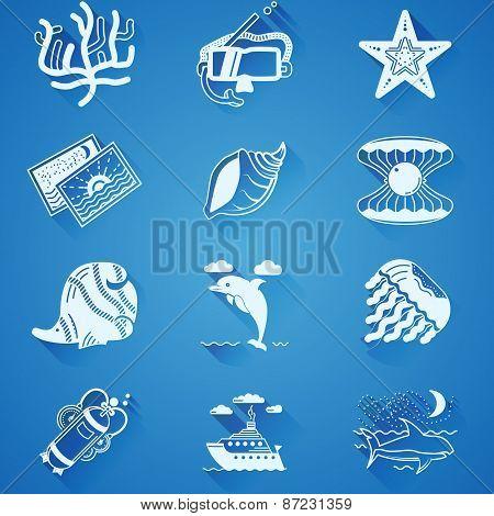 White underwater vector icons
