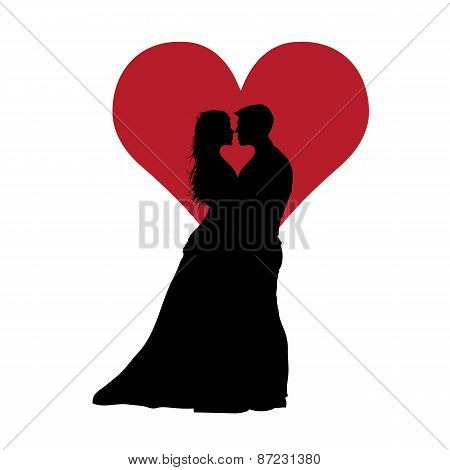Couple In Love With Red Heart Black Vector Illustration