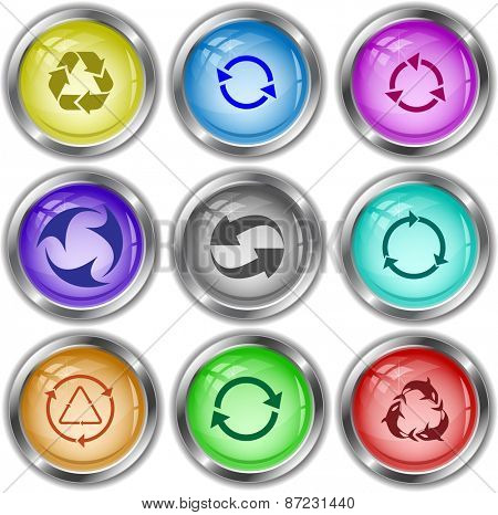 Recycle symbols set. Raster internet buttons.