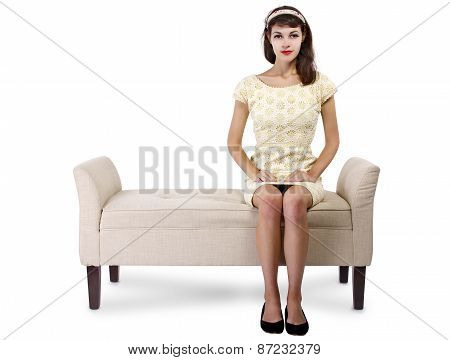 Retro Female Reading a Book on a Chaise Lounge