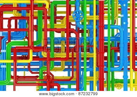 Maze of colorful pipes background
