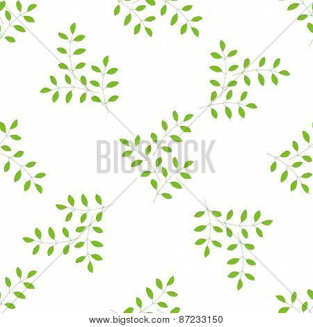 Sprig With Leafs Seamless Pattern