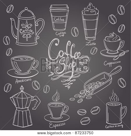 hand drawn coffee doodles set