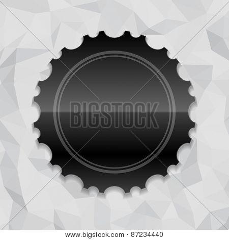 Vintage style black shiny label frame design and origami paper vector background. Retro luxury frame, badge, premium quality design element.
