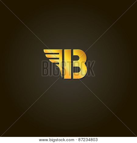 Letter B.  gold font. Template for company logo. Design element or icon.