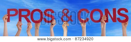 Hands Holding Red Straight Word Pros And Cons Blue Sky