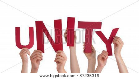 Many People Hands Holding Red Word Unity
