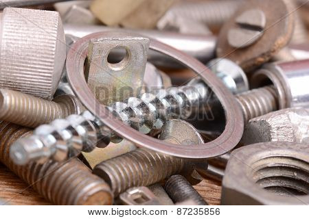 Old Bolts, Screws And Metal Details, Close Up