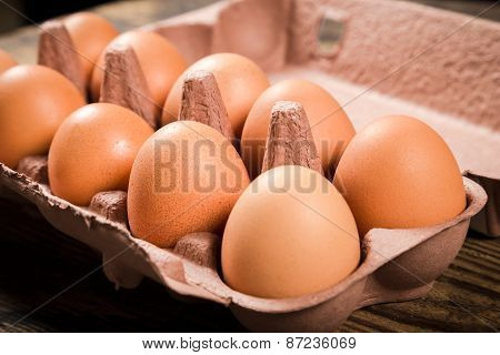 Chicken eggs in carton tray