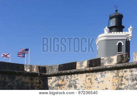 Lighthouse And Flags On Castillo San Felipe Del Morro.