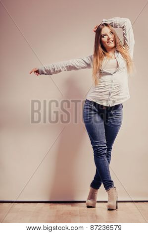 Fashionable Woman In Shirt Denim Pants