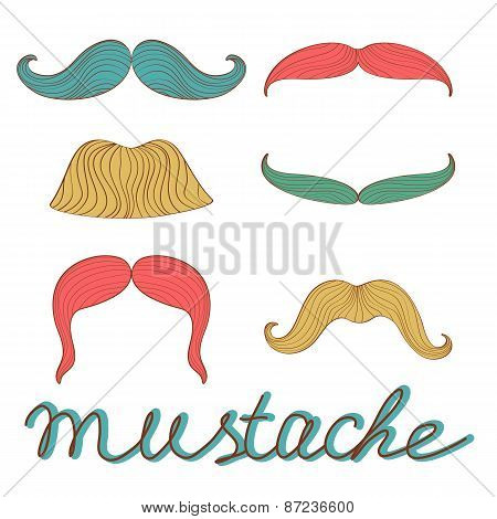 Stylish retro mustaches set