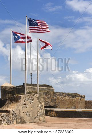 Three Flags On Top Of Castillo San Felipe Del Morro.