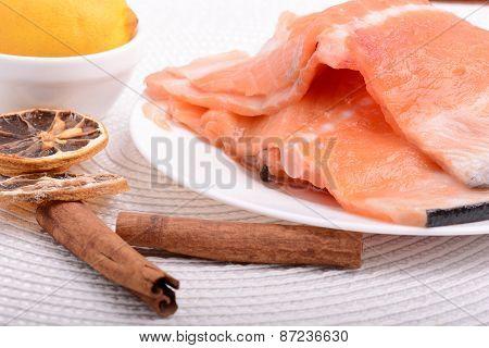 Slice Of Red Fish Salmon