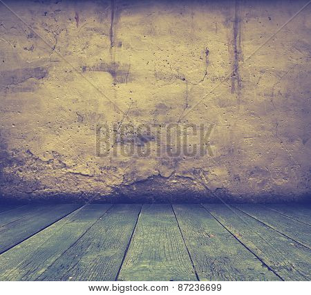 old grunge interior, vintage background, retro filtered, instagram style