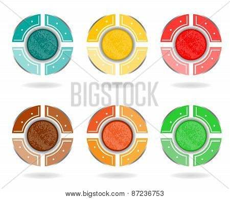 Set, collection of six isolated, colorful - blue, yellow, red, brown, orange, green - pie charts, di