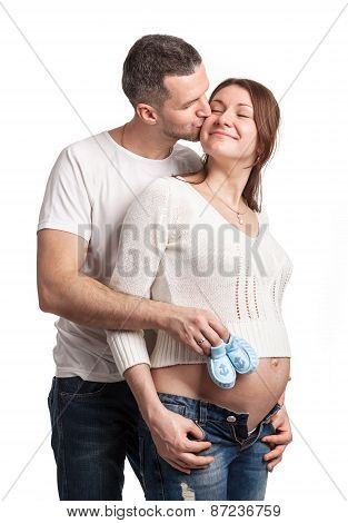 Happy young couple anticipating child birth