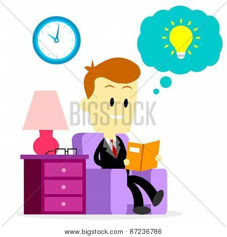 Businessman Reading A Book to Improve Skills
