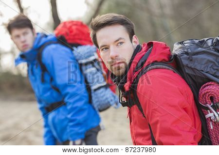 Young male hikers looking away in forest