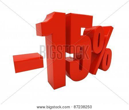 15 percent off. Discount 15. 3D illustration