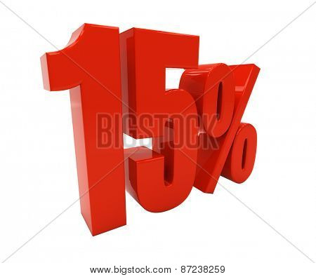 15 percent off. Discount 15. 3D illustration
