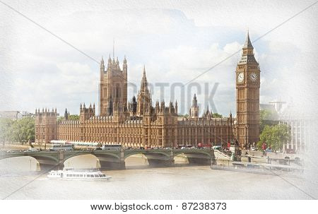 The Palace of Westminster, Elizabeth Tower and Westminster Bridge. Photo in retro style. Added paper texture.