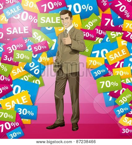 Vector hipster business man shows well done on sale