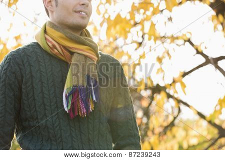 Midsection of man wearing sweater and muffler in park during autumn