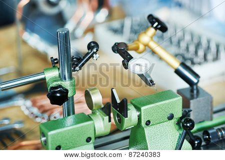 Measuring equipment micrometer at manufacturing industry factory
