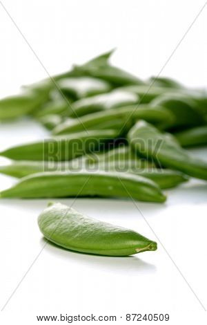 Peas on white background - close-up