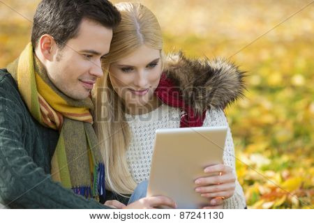 Couple using digital tablet in park during autumn