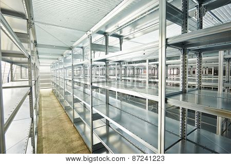 modern metal warehouse shelves construction indoors
