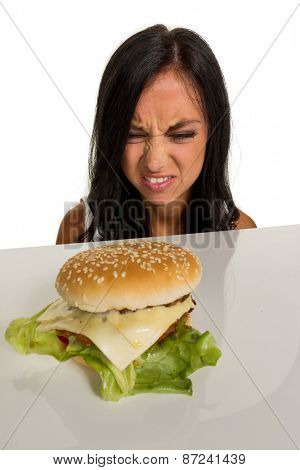 a young woman with a hamburger. photo icon for fast food