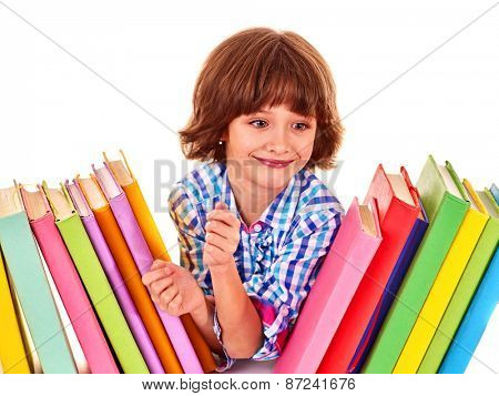 Child little girl with stack of books. Isolated.