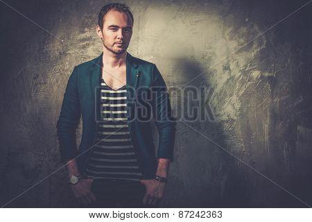 Stylish fashionist wearing casual jacket