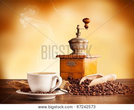 Coffee still life with free space for text