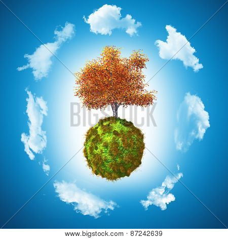 3D render of a walnut tree on a grassy globe