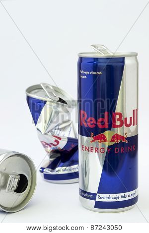 Can of Red Bull Energy Drink on white background