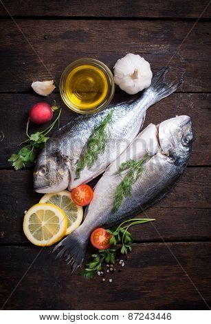 Raw Dorada With Ingredients